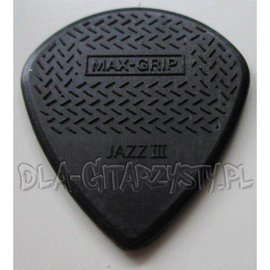 Guitar Pick Dunlop Max Grip BLACK STIFFO 1.38mm - JAZZ III