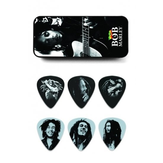 Set of 6 Guitar Picks Bob Marley - Silver - MEDIUM - Thin metal box