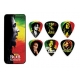 Set of 6 Guitar Picks Bob Marley Rasta - HEAVY - Thin metal box